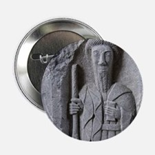 """Medieval stone carving of a Saint at  2.25"""" Button"""