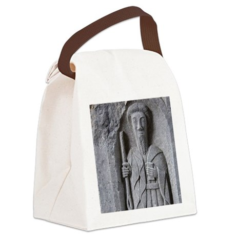 Medieval stone carving of a Saint Canvas Lunch Bag