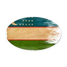 Uzbekistantex3-paint styletex3-pai Oval Car Magnet