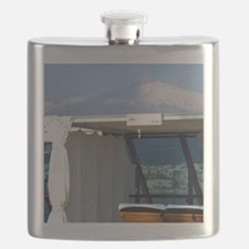 Gateway to Taormina. View of Mt. Etna volcan Flask