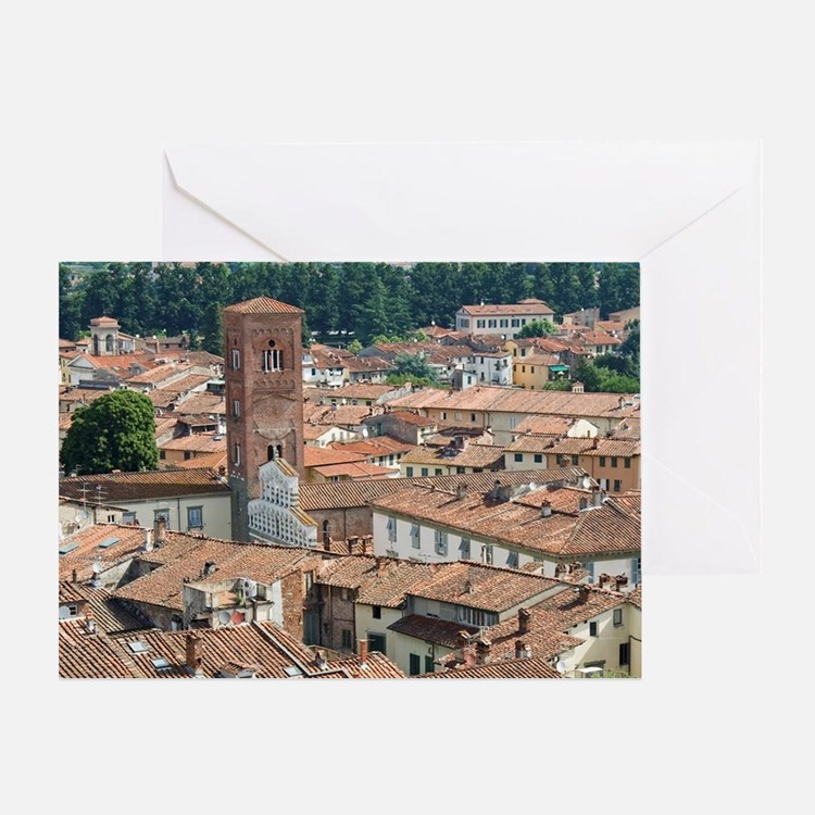View of Lucca from Torre Guinigi, Lu Greeting Card