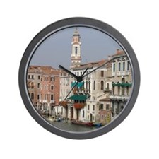 Italy, Venice, gondolas on Grand Canal Wall Clock