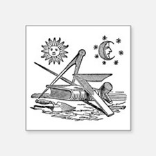 """Masonic Woodcut Square Sticker 3"""" x 3"""""""
