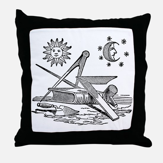 Masonic Woodcut Throw Pillow