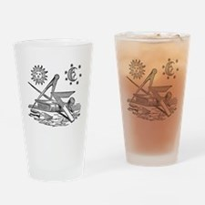 Masonic Woodcut Drinking Glass
