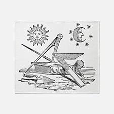 Masonic Woodcut Throw Blanket