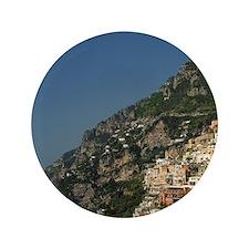 """Positano. Colorful coastal overlook Sa 3.5"""" Button"""