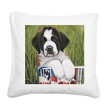 st bernard square Square Canvas Pillow