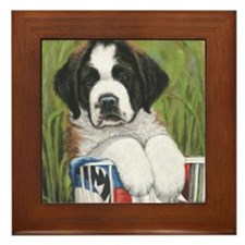 st bernard square Framed Tile