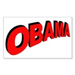 Obama Red Arc Rectangle Sticker