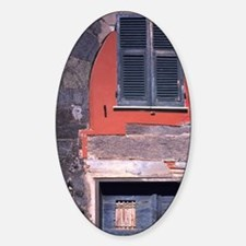 Blue wooden doors are accented by t Sticker (Oval)