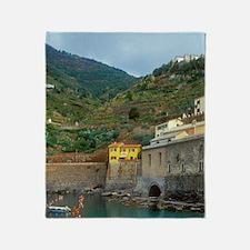 Italy: Cinque Terre, Vernazza, harbo Throw Blanket