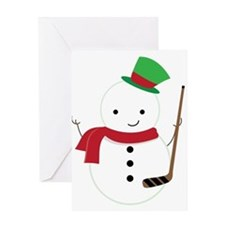 Hockey Sports Snowman Greeting Cards