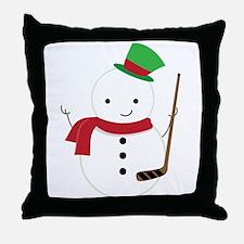 Hockey Sports Snowman Throw Pillow