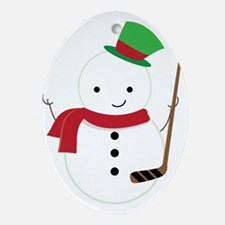 Hockey Sports Snowman Ornament (Oval)