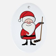 Hockey Sports Christmas Santa Ornament (Oval)