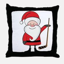 Hockey Sports Christmas Santa Throw Pillow