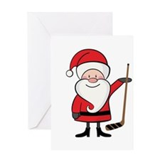 Hockey Sports Christmas Santa Greeting Card
