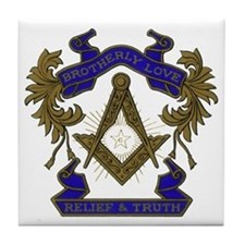 Masonic Brotherly Love Tile Coaster