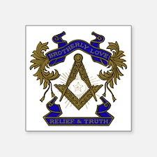 "Masonic Brotherly Love Square Sticker 3"" x 3"""
