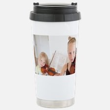 Young sisters show their violin Travel Mug
