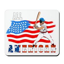 All American BaseBall player white Mousepad