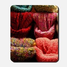 Colorful wool scarves. Mousepad