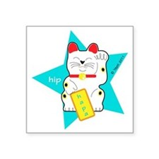 "hapaTeezManeki2 Square Sticker 3"" x 3"""