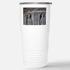 Medieval stone carving of Saint Travel Mug