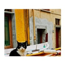 Cinque Terre. Village cat guards one Throw Blanket