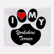 I Heart My Yorkshire Terrier Throw Blanket