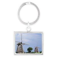 A line of stately windmills lin Landscape Keychain