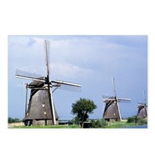 A line of stately windmil Postcards (Package of 8)