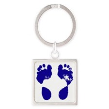 jennifer_footprint_blue Square Keychain