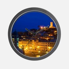 Night View of the Hillside Town of Vern Wall Clock