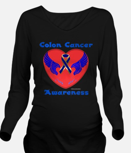 Colon Cancer Aware Long Sleeve Maternity T-Shirt