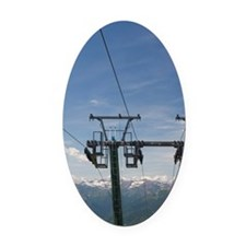 Ski lift atop Mount Mottarone peak Oval Car Magnet