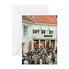 Mandal, Norway, cafe scene Greeting Card