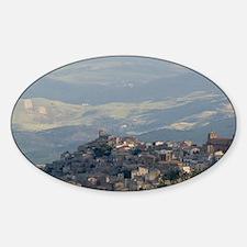 Morning View of Hill Townscibetta,  Sticker (Oval)