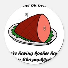 Kosher Ham Round Car Magnet
