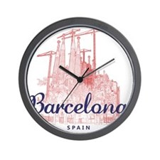 Barcelona_7x7_LaSagradaFamilia_BrownBlu Wall Clock