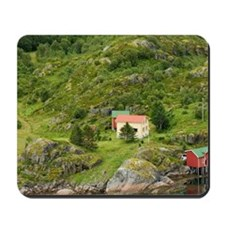 Europe, Norway, Lofoten. House and boats Mousepad
