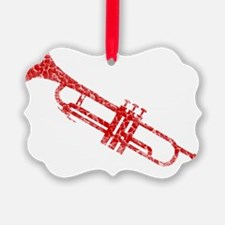 distressed trumpet red Ornament