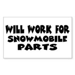 Will Work For Snowmobile Part Sticker (Rectangular