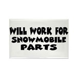 Will Work For Snowmobile Part Rectangle Magnet