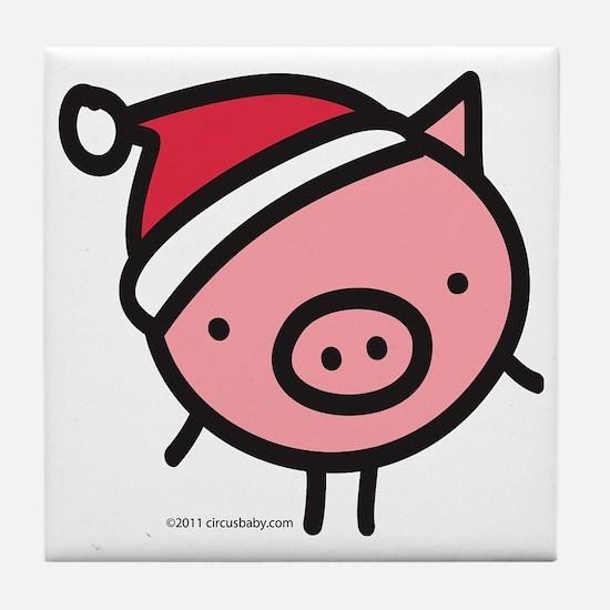 pig_santa Tile Coaster