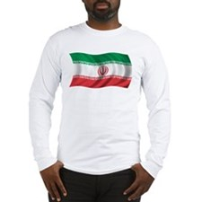 Wavy Iran Flag Long Sleeve T-Shirt