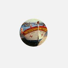 Sangres. Colorful boat in harbor. Pola Mini Button