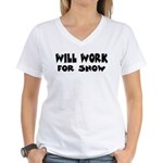 Will Work For Snow Women's V-Neck T-Shirt