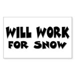 Will Work For Snow Rectangle Sticker